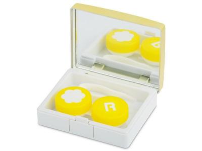 Caixa elegante com espelho para lentes - Dourado