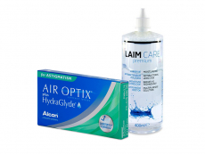 Air Optix plus HydraGlyde for Astigmatism (3 lentes) + Solução Laim-Care 400 ml