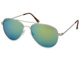 alensa.pt - Lentes de contacto - Óculos de Sol Aviador Prata - Azul/Verde