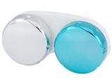 Estojo para lentes de contacto com acabamento espelhado - Azul/Prata