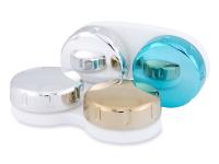 Estojo para lentes de contacto com acabamento espelhado - Dourado/Prata